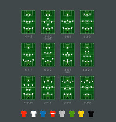 Soccer formations set with different color players vector