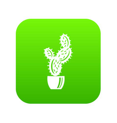Spike cactus icon green vector
