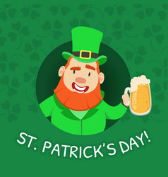 st patricks day banner template leprechaun with vector image