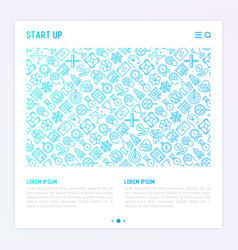 start up concept with thin line icons vector image