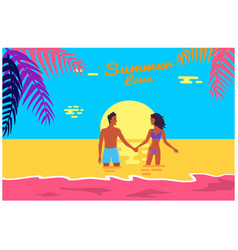 summer love poster of happy couple standing in sea vector image