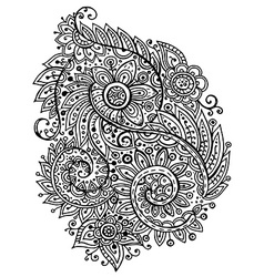 Traditional oriental floral black and white vector