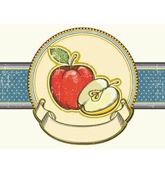 Vintage apples label on old paper background vector image