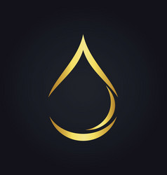 Water drop bio ecology abstract gold logo vector