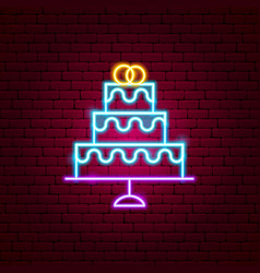 wedding cake neon sign vector image