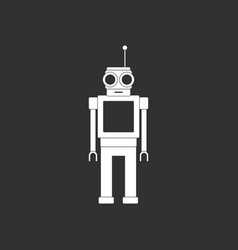 White icon on black background robot toy with vector