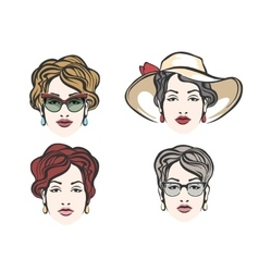 Woman Face Fashion Set vector image