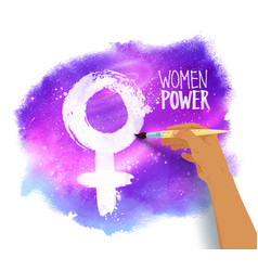 woman hand drawing female symbol vector image
