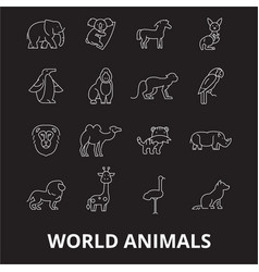 world animals editable line icons set on vector image
