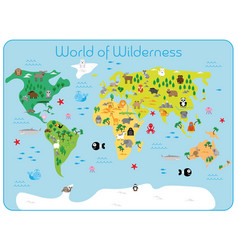 World wilderness - map continents vector