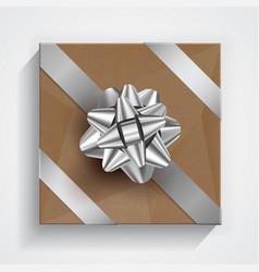 brown gift box - silver christmas and birthday bow vector image