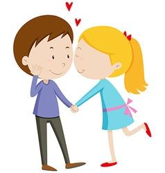 Girl kissing her boyfriend vector image