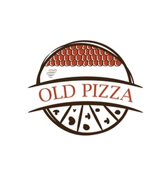 old label pizzawith shingles vector image