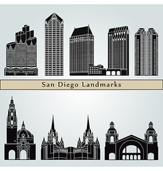San Diego landmarks and monuments vector image