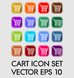set of cart icons rounded square in different vector image