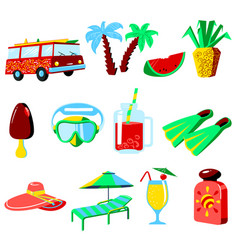 Summer vacations cartoon icons set vector