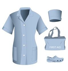 Woman medical clothes set vector image