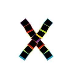 Alphabet X with colorful polaroids vector image vector image