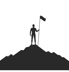 Businessman Holding Flag on Mountain vector image vector image