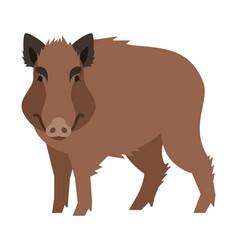 cute smiling wild boar cartoon vector image