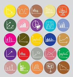 Draw flat Color style Business Graph icon set vector image