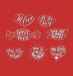 hand drawn romantic quote set in different vector image vector image