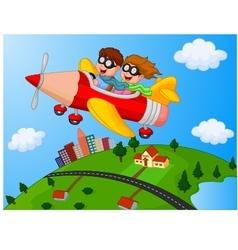School Children Enjoying airplane pencil vector image