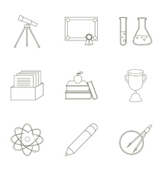 School set icons in outline style Big collection vector image vector image