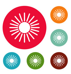 sun icons circle set vector image