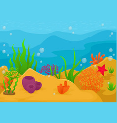 underwater landscape background vector image