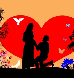 A young man kneel and woo the girl silhouette vector image vector image