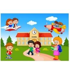 Happy cartoon school children vector image vector image