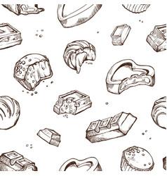 Seamless pattern of sketches bitten vector