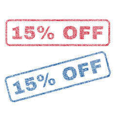 15 percent off textile stamps vector image vector image