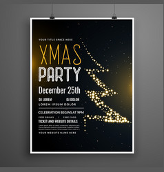 creative christmas party poster design in black vector image
