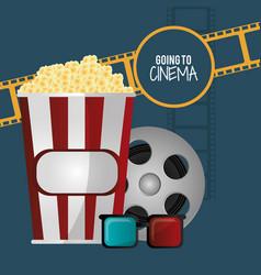 going to cinema pop corn 3d glasses film strip vector image vector image
