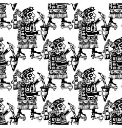 Seamless mayan and aztec totems pattern vector image