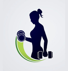 woman exercise with dumbbell graphic vector image