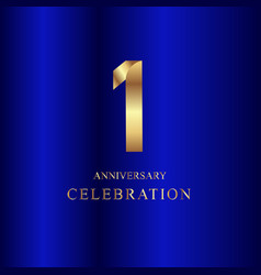 1 year anniversary celebration gold blue template vector image