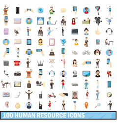 100 human resource icons set cartoon style vector image