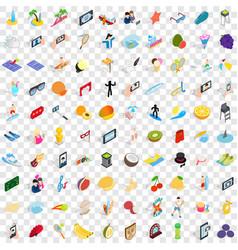 100 joy icons set isometric 3d style vector