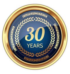 30 years experience badge vector