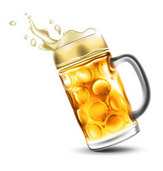 A mug of beer with a foamy splash very realistic vector