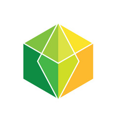 Abstract cube colored logo image vector