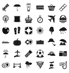 Bad weather icons set simple style vector