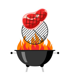 Bbq grill with grate fire and fried steak vector