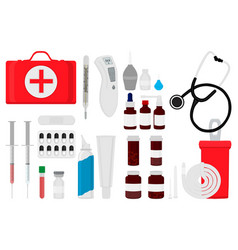 Big colored set different types medication of vector