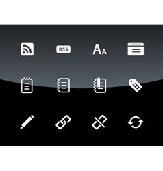 Blogger icons on black background vector image