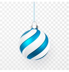 Blue christmas ball xmas glass ball on vector