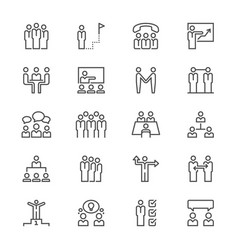 Business people thin icons vector